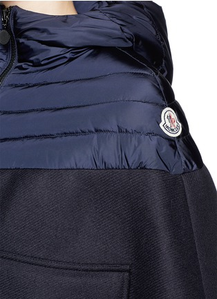 Detail View - Click To Enlarge - MONCLER - 'Grises' drawstring hem wool flannel cape coat