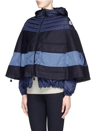 Front View - Click To Enlarge - MONCLER - 'Grises' drawstring hem wool flannel cape coat