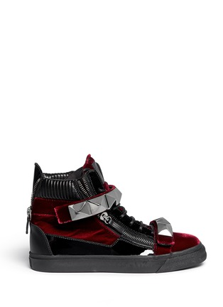 Main View - Click To Enlarge - 73426 - 'London' stud velvet sneakers