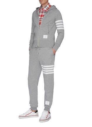Figure View - Click To Enlarge - THOM BROWNE - Stripe sleeve zip hoodie
