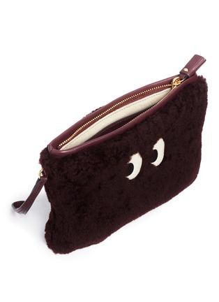 Detail View - Click To Enlarge - Anya Hindmarch - 'Ghost' shearling zip pouch