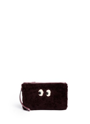 Main View - Click To Enlarge - Anya Hindmarch - 'Ghost' shearling zip pouch