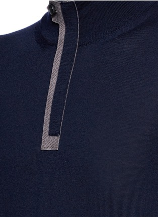 Detail View - Click To Enlarge - Canali - Suede trim half zip wool sweater