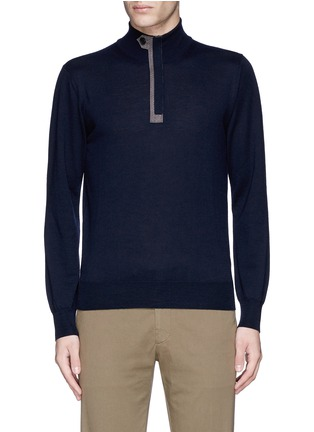 Main View - Click To Enlarge - Canali - Suede trim half zip wool sweater
