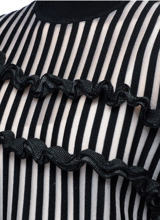 Detail View - Click To Enlarge - Opening Ceremony - Stripe ruffle Merino wool blend boxy T-shirt