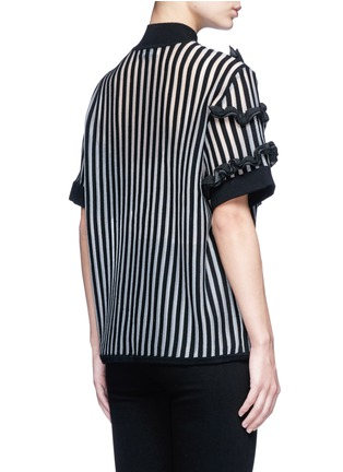 Back View - Click To Enlarge - Opening Ceremony - Stripe ruffle Merino wool blend boxy T-shirt