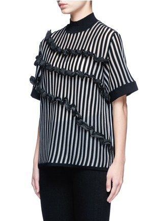 Front View - Click To Enlarge - Opening Ceremony - Stripe ruffle Merino wool blend boxy T-shirt