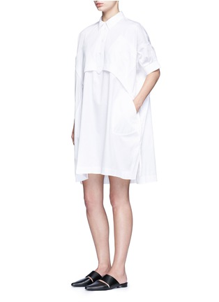 Figure View - Click To Enlarge - Opening Ceremony - Oversize sateen panelled shirt dress