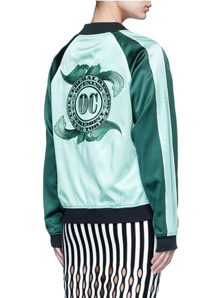 Back View - Click To Enlarge - OPENING CEREMONY - Reversible cash embroidery silk varsity jacket