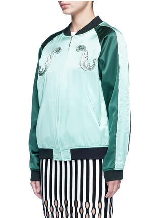 Front View - Click To Enlarge - Opening Ceremony - Reversible cash embroidery silk varsity jacket