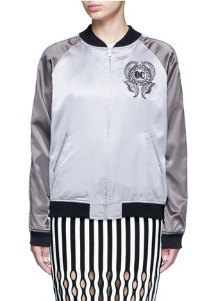 Main View - Click To Enlarge - OPENING CEREMONY - Reversible cash embroidery silk varsity jacket