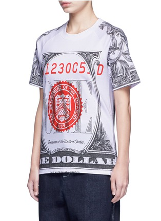 Front View - Click To Enlarge - Opening Ceremony - 'One' dollar bill print cotton T-shirt