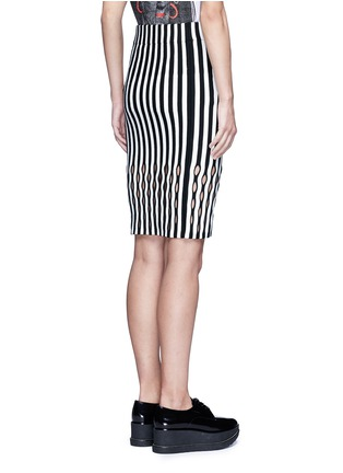Back View - Click To Enlarge - Opening Ceremony - Perforated stripe Merino wool blend pencil skirt