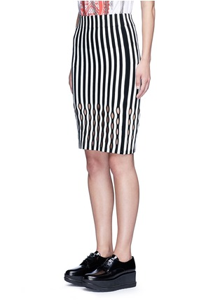 Front View - Click To Enlarge - Opening Ceremony - Perforated stripe Merino wool blend pencil skirt