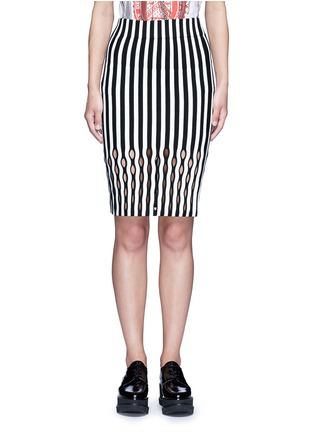 Main View - Click To Enlarge - Opening Ceremony - Perforated stripe Merino wool blend pencil skirt