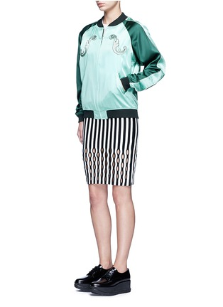 Figure View - Click To Enlarge - Opening Ceremony - Perforated stripe Merino wool blend pencil skirt