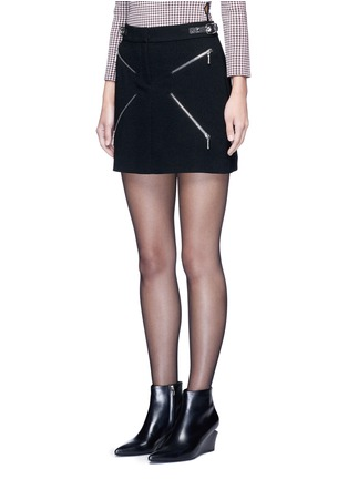 Front View - Click To Enlarge - Alexander Wang  - Leather adjuster zip skirt