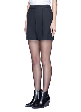 Front View - Click To Enlarge - Alexander Wang  - Pleated front tailored wool blend shorts
