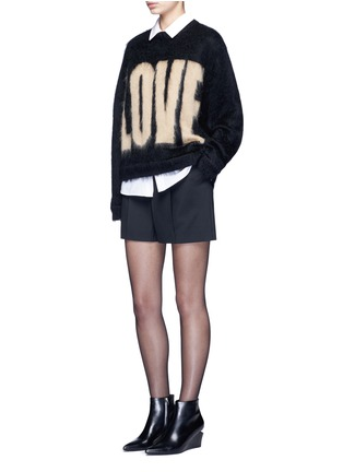 Figure View - Click To Enlarge - Alexander Wang  - Pleated front tailored wool blend shorts