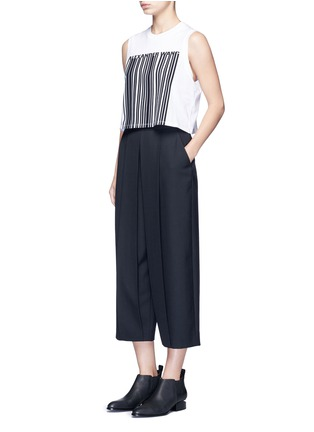 Figure View - Click To Enlarge - ALEXANDERWANG - Pleated front cropped wool blend pants