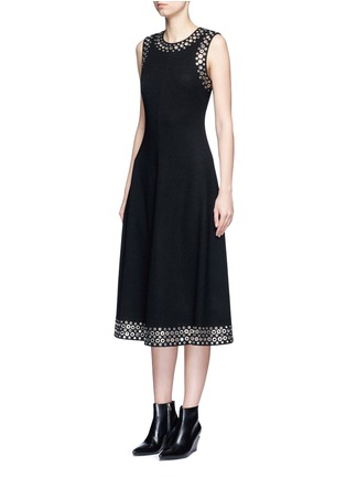 Front View - Click To Enlarge - Alexander Wang  - Grommet border A-line dress