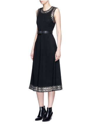 Figure View - Click To Enlarge - Alexander Wang  - Grommet border A-line dress
