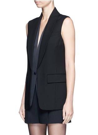 Front View - Click To Enlarge - Alexander Wang  - Double layer satin collar tuxedo vest