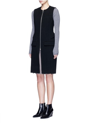 Front View - Click To Enlarge - ALEXANDERWANG - Peplum back zip front long vest