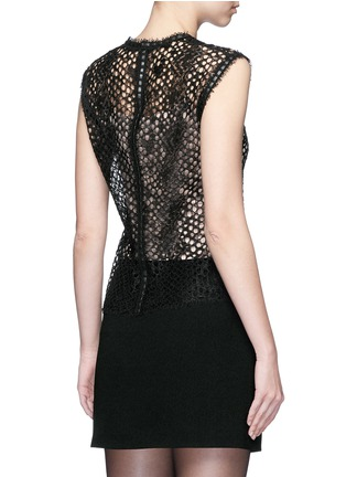 Back View - Click To Enlarge - ALEXANDERWANG - Leather trim sleeveless mesh lace top