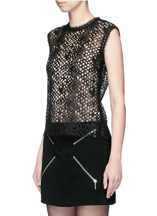 Front View - Click To Enlarge - ALEXANDERWANG - Leather trim sleeveless mesh lace top