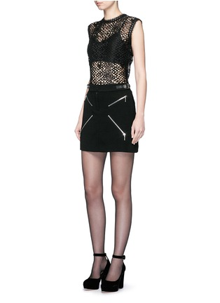 Figure View - Click To Enlarge - Alexander Wang  - Leather trim sleeveless mesh lace top