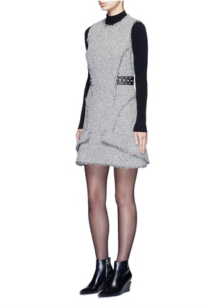 Figure View - Click To Enlarge - alexanderwang - Grommet belt tweed peplum dress