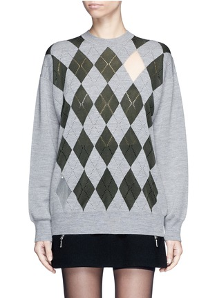Main View - Click To Enlarge - ALEXANDERWANG - 'Argyle' cutout argyle intarsia sweater