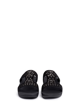 Front View - Click To Enlarge - Fitflop - 'Carmel' stud lasercut suede slide sandals
