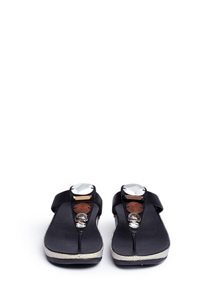 Front View - Click To Enlarge - FITFLOP - 'Jeweley' raffia sole strass leather flip flops