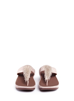 Front View - Click To Enlarge - Fitflop - 'Cha Cha' beaded fringe shimmer suede flip flops