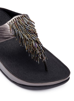 Detail View - Click To Enlarge - Fitflop - 'Cha Cha' beaded fringe lizard embossed leather flip flops