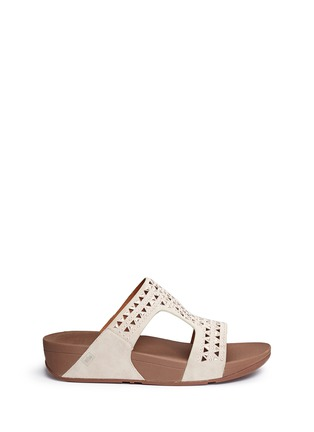 Main View - Click To Enlarge - Fitflop - 'Carmel' stud lasercut suede slide sandals