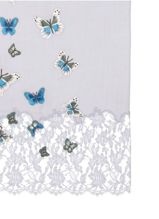 Detail View - Click To Enlarge - Janavi - 'Flying Butterflies' embroidery lace cashmere scarf
