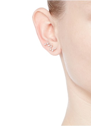 Figure View - Click To Enlarge - Anabela Chan - 'Constellation' diamond 9k rose gold single creeper earring