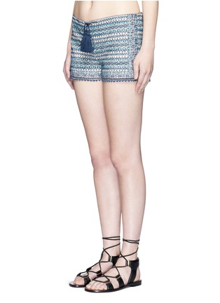 Front View - Click To Enlarge - Talitha - 'Faro' tribal embroidered drawstring shorts