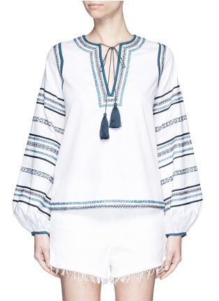 Main View - Click To Enlarge - Talitha - Tribal scroll embroidered stripe peasant blouse