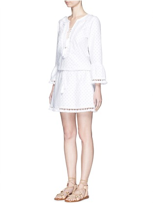 Figure View - Click To Enlarge - Talitha - 'Shyla' floral cutwork drawstring tunic dress