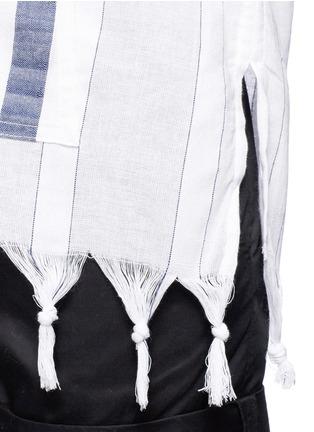 Detail View - Click To Enlarge - Koza - 'Baja' fringe pinstripe tunic hoodie