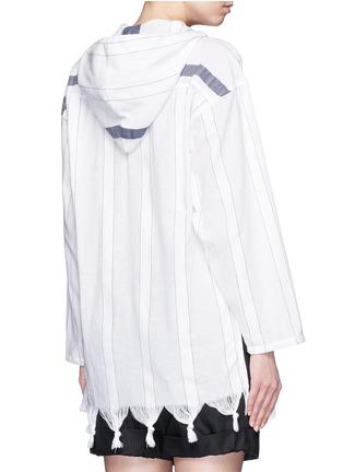 Back View - Click To Enlarge - Koza - 'Baja' fringe pinstripe tunic hoodie