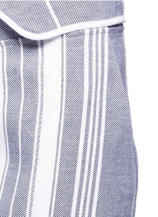 Detail View - Click To Enlarge - Koza - 'Brooke' fold-down waist pinstripe cropped pants