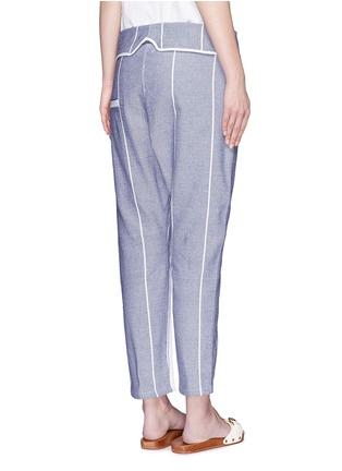 Back View - Click To Enlarge - Koza - 'Brooke' fold-down waist pinstripe cropped pants