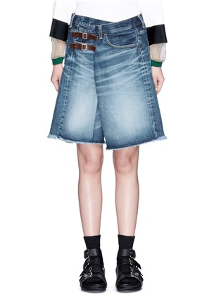 Detail View - Click To Enlarge - 72951 - Foldover strap front oversized denim shorts
