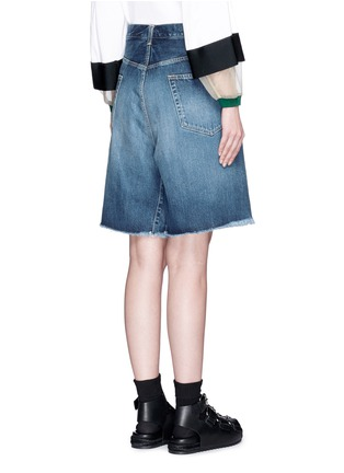 Back View - Click To Enlarge - 72951 - Foldover strap front oversized denim shorts