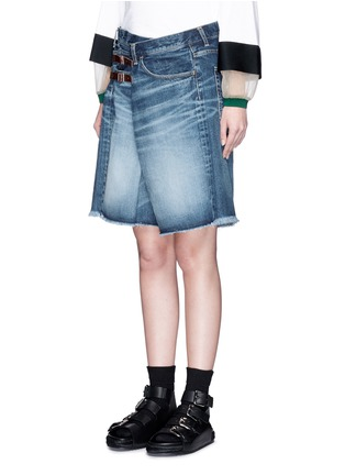 Front View - Click To Enlarge - 72951 - Foldover strap front oversized denim shorts